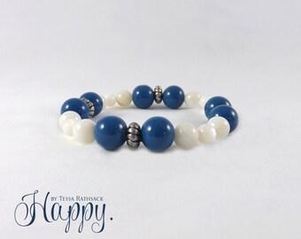 Stretch Bracelet, Stretch Blue and White Bracelet, Calming Bracelet, Bead Bracelet, Beaded Bracelet, White Bracelet, Blue Bracelet