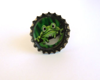Frog Illustration Bottle Cap Resin Ring Recycled Handmade Jewelry
