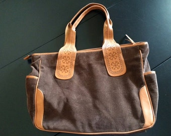Aqua Madonna Brown Corduroy Purse with Decorative Tooled Leather Handles