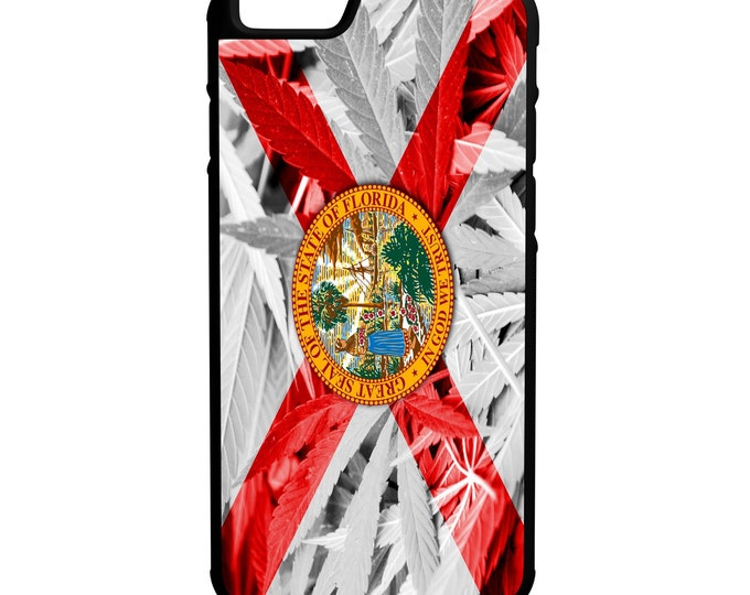 State of Florida Weed Flag iPhone Galaxy Note LG HTC Hybrid Rubber Protective Case Kush