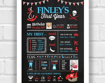 Baby's First Year Print - Pirates Chalkboard - Design File Only SALE PRICE!