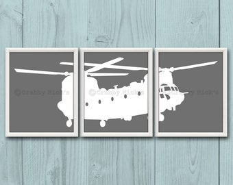 8x10 (3) NURSERY HELICOPTER Prints - Nursery Art, Nursery Decor, Children's Art, Transportation, Aviation - Chinook Helicopter