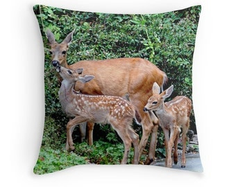 Deer Pillow, Deer Cushion, Deer Fawns, Gift for Mother, Deer Decor, Baby Animal, Woodland Animals, Animal Decor, Wildlife Decor