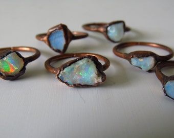 Custom Size Opal Ring Electroformed Ring Copper Plated Copper Ring Gemstone Ring October Birthstone