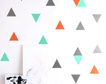 """Wall Stickers - 3.5"""" Triangle - Set of 45 - Choose Up to 5 Colors"""