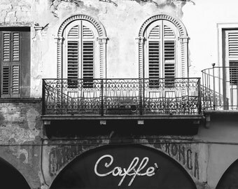 Italy Photography, Italy Print, Horizontal Art, Coffee Shop Decor, Kitchen Photography, Kitchen Wall Decor, Black and White, Cafe Print