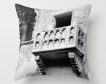 Velveteen Pillow - Italy Pillow - Romeo and Juliet - Juliet's Blacony - Verona - Dorm Pillow - Teen Pillow - Literary Gift - Black and White