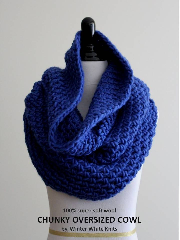 Tube Cowl Knitting Pattern : Knit cowl soft wool cowl tube scarf cobalt blue knitted