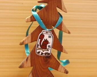 "Shrink Plastic pendant ""Squirrel in a jar"""