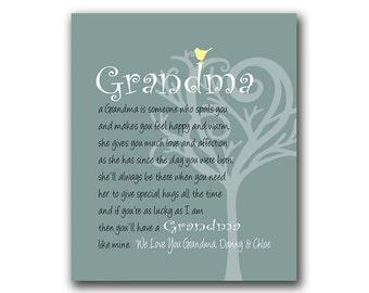 Grandma Gift - Gift from Grandchildren - Can Be Personalized With We or I Love you Grandma With Grandchildrens Names Any Color Available