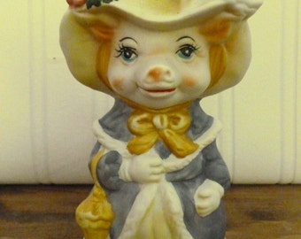 Vintage Ceramic Lady Pig Bell - Pig Collectible - Ceramic Bell