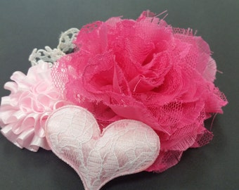 Hair Accessory, Girls Accessory, Spring Pink Flower, Lace Flower, Lace Trim Flower, Pink Lace Heart, Hair Flower, Valentine's, Ruffle Flower