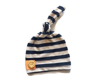 Bamboo Newborn hat, hospital hat, knot hat in navy and heather cream stripe   READY TO SHIP!!