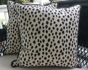 Ballard Designs Pillow Cover in Dodie Blck and Cream Animal Print Linen, Coordinating Woven Backing and Black Cording