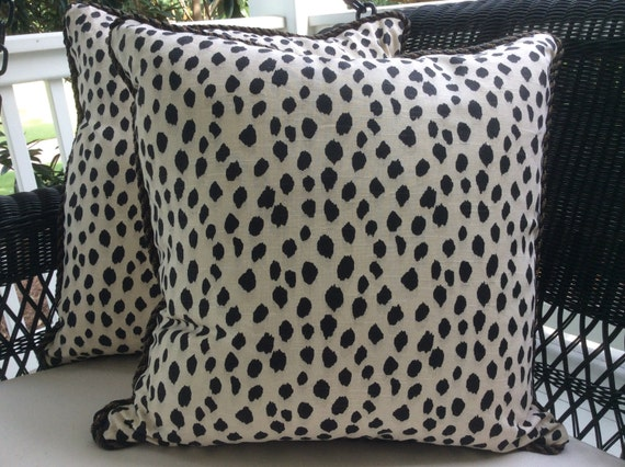 Ballard Designs Pillow Cover In Dodie Blck And Cream Animal