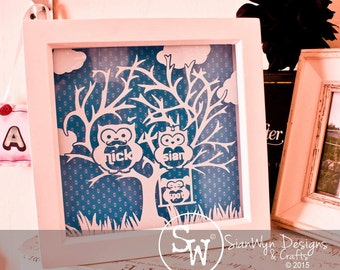 This is owl family frame.