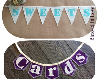 Set of two burlap banners, SWEETS and our mini CARDS burlap banner, Product ID# 2014-032