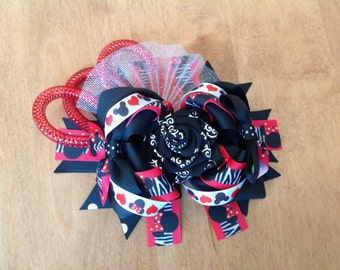 Disney Minnie Animal Print Stacked Hair Bow, Boutique Hair Bow