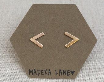 Small Chevron Stud Earrings in Gold. Sterling Silver Posts. Geometric Studs. Basic Shape Earrings. Minimalist Everyday Jewelry.