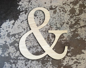 "GIANT Wooden Ampersand Letter XL - Modern Home Decor - 18"" Tall - Custom Wedding Cutouts - Wedding Photo Prop"