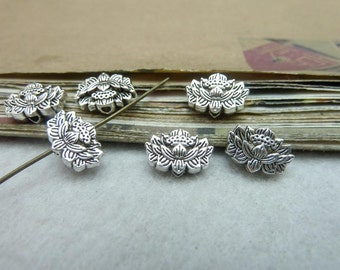 50pcs 8x12mm Antique silver Perforation of the lotus, Interval bead, Tail bead  pendant connectors Jewelry findings bC8081