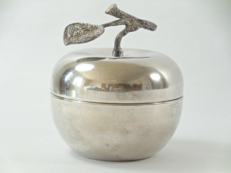 Silvered metal apple trinket box apple jewelry box vintage for Vintage apple boxes