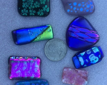 dichroic cabachons, group of 8 assorted.