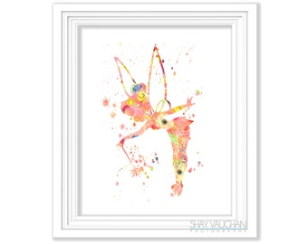 Tinkerbell Art Print Tinkerbell Floral Watercolor Tinkerbell Nursery Art Nursery Decor Wall Art Home Decor Children S