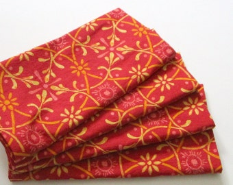 Large Cloth Napkins - Set of 4 - Cranberry Red Gold Yellow Ironwork Design