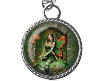 Celtic Necklace, Celtic Fairy Image Pendant Key Chain Handmade