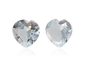 Aquamarine Loose Gemstones Set of 2 Heart Cut 1A Quality 4mm TGW 0.30 cts.