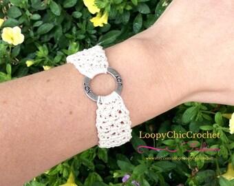 Cream Colored Crochet Summer Bracelet with Joy Inspirational Saying