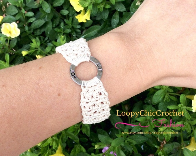 Cream Colored Crochet Summer Bracelet with Joy Inspirational Saying