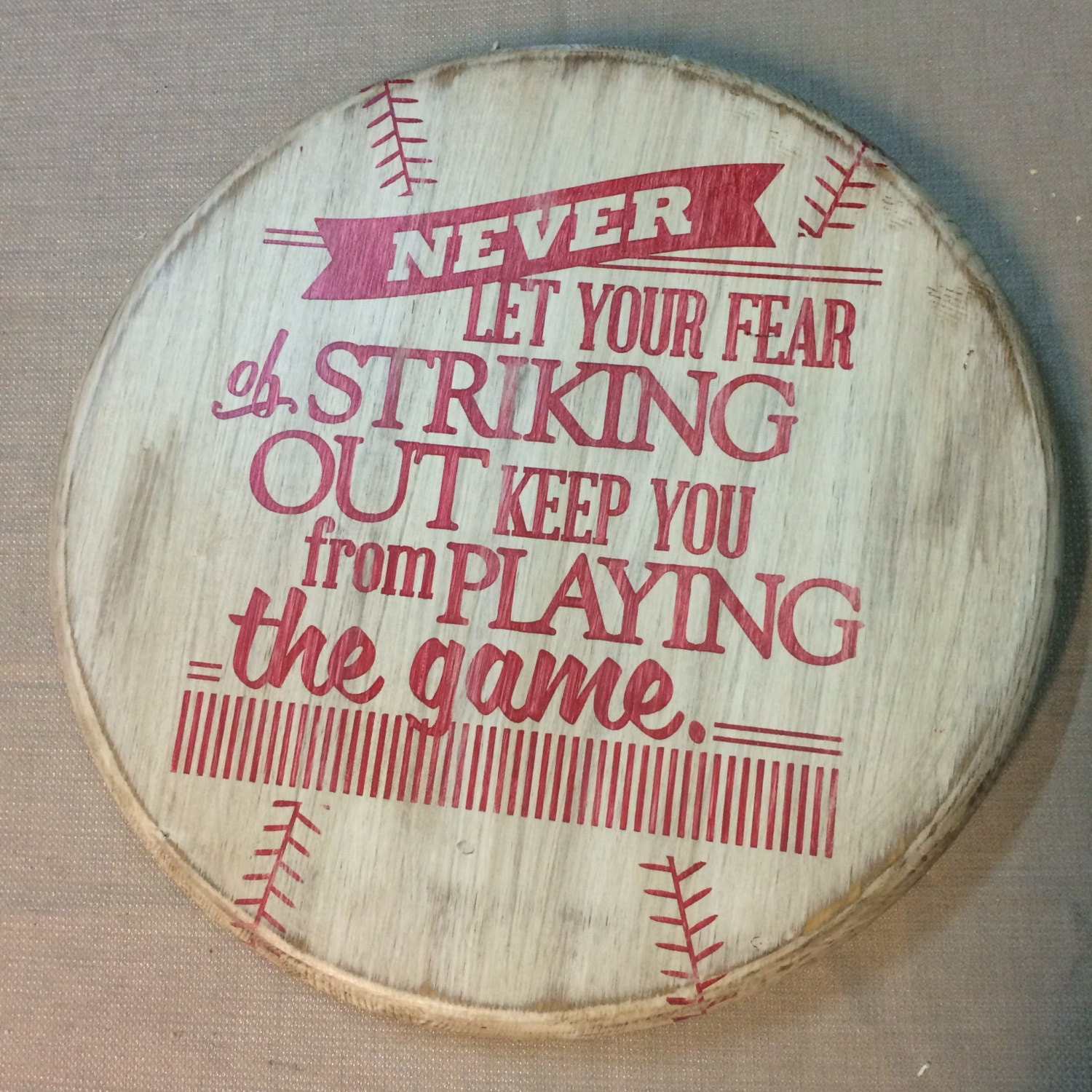 Rustic Baseball Wall Decor With Quote