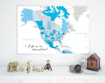 36x24 Printable North America Map Highly Detailed Map With Cities Us Map