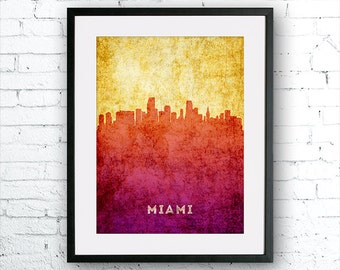 Miami illustration Art Print, Miami painting, United States Florida art, poster, cityscape, city art, urban,city wall art