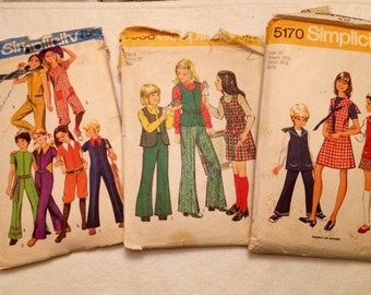 Set of 3 1970's Girls outfit Simplicity patterns #s 9591, 6586, 5170