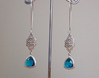 Silver filigree and faceted turquoise connector earrings