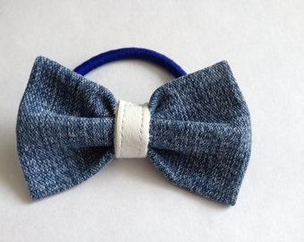 Loop in blue jeans for hair