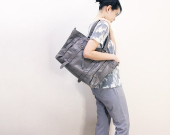 UN1 Gray Leather Tote: Work Bag / Laptop Bag / Leather Bag / Leather Purse / Diaper bag / Large Purse / Diaper bag.
