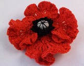 Beautiful Remembrance Day Poppy Brooch poppy brooch crochet poppy brooch red crochet brooch
