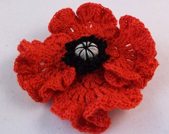 Beautiful Remembrance Day Poppy Brooch, poppy brooch, crochet poppy brooch, red crochet brooch,