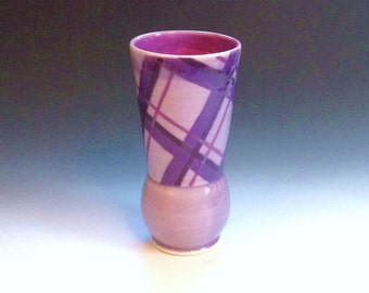 Purple Porcelain Tumbler, Ceramic Cup, Plaid Pattern, Purple Tumbler, Porcelain Vase, Wheel Thrown Pottery Cup