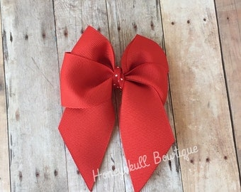 Red 3 1/2 inch Grosgrain Bow Clip
