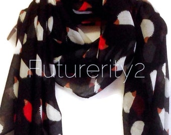 Hedgehog Black Summer Scarf / Spring Scarf / Gift For Her / Women Scarves / Fashion Accessories