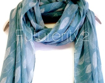 Teal Blue White Leaf Spring Scarf Summer Scarf / Gift For Her / Women Scarves / Accessories / Handmade