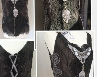 Steampunk top dark ,Antique lace treasure top, Victorian lace inspired, steampunk deluxe, Gypsy , fairytal unique clothing, handmade trashy