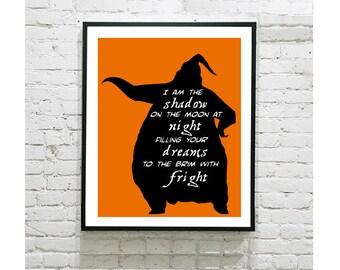 """The Nightmare Before Christmas Digital Art Print - Oogie Boogie Song - Jack Pumpkin King - Silhouette Art - Halloween - 8""""x10"""" Print"""
