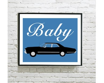 "Supernatural Digital Art Print - Impala Baby - Sam Winchester - Dean Winchester - Carry On My Wayward Son - Castiel - Bobby - 8""x10"""