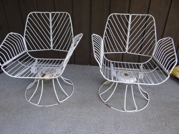 Homecrest metal swivel patio chairs vintage wrought iron mid for Vintage wrought iron patio furniture cushions